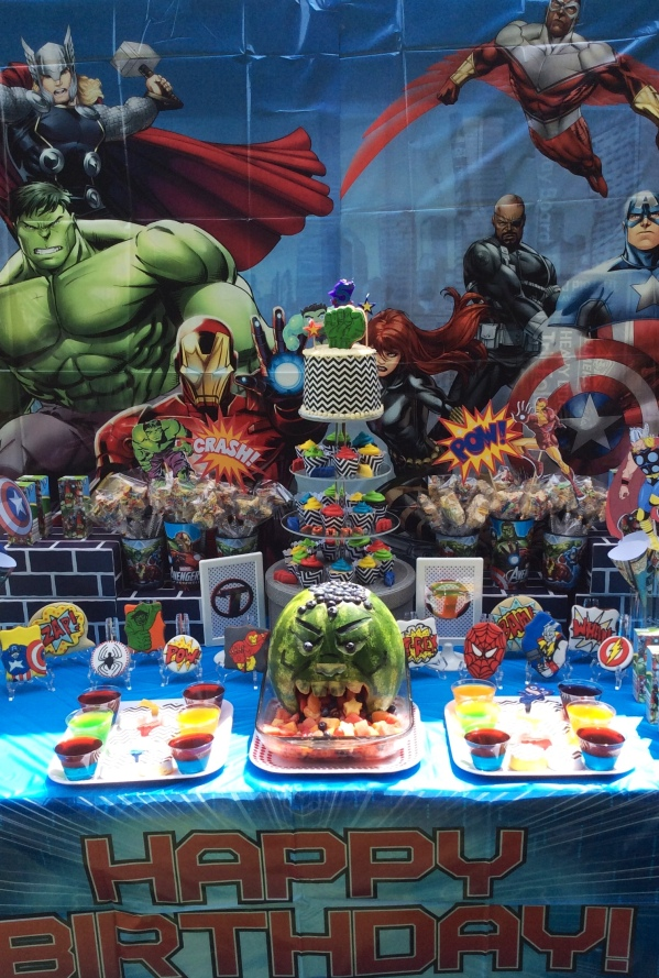 Avengers Birthday Party Dessert Table display